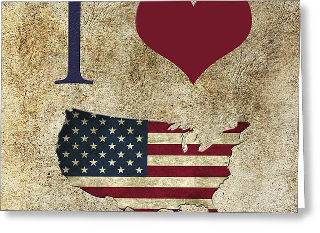Love Greeting Cards - I love USA grunge texture Greeting Card by Gina Dsgn