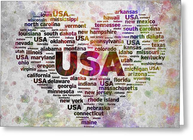Usa Digital Art Greeting Cards - I Love USA in Color Greeting Card by Aged Pixel