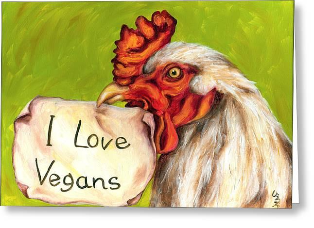 Animals Love Greeting Cards - I Love Vegans Greeting Card by Hiroko Sakai