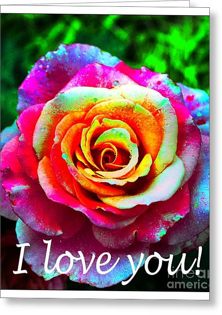 I Feel Greeting Cards - I Love You - Pink Rose - Greetings 2 Greeting Card by Barbara Griffin