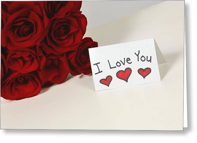 Special Occasion Greeting Cards - I Love You Card Beside Roses Greeting Card by Leah Hammond