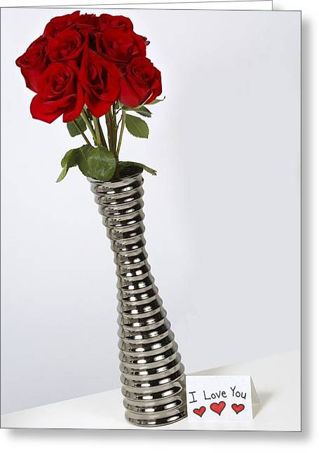 Special Occasion Greeting Cards - I Love You Card With Roses In A Vase Greeting Card by Leah Hammond