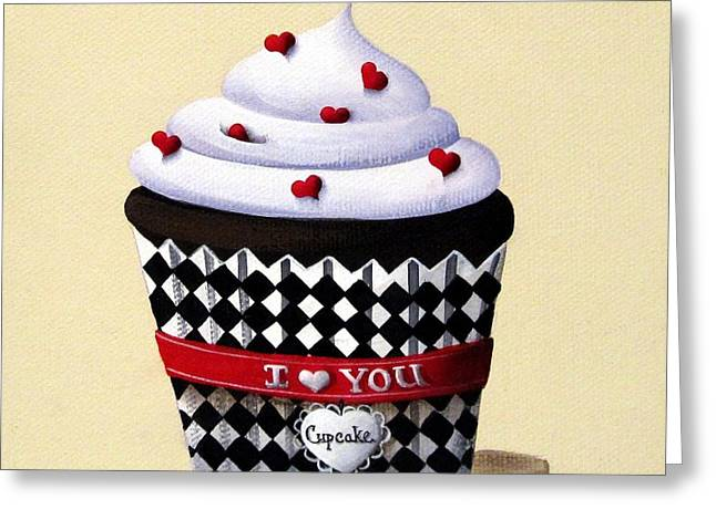 Folk Art Paintings Greeting Cards - I Love You Cupcake Greeting Card by Catherine Holman