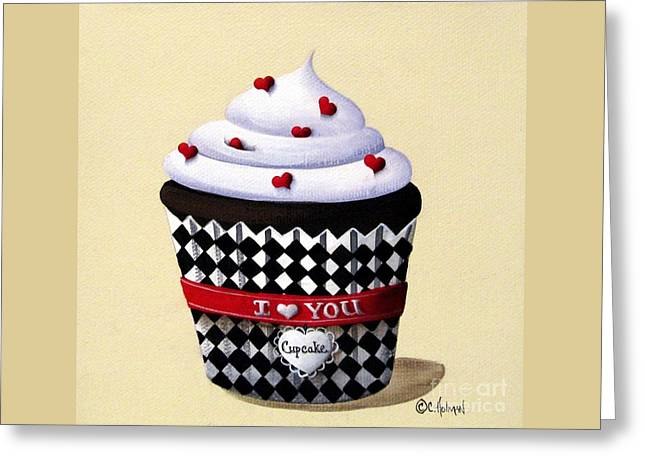 Catherine Holman Greeting Cards - I Love You Cupcake Greeting Card by Catherine Holman