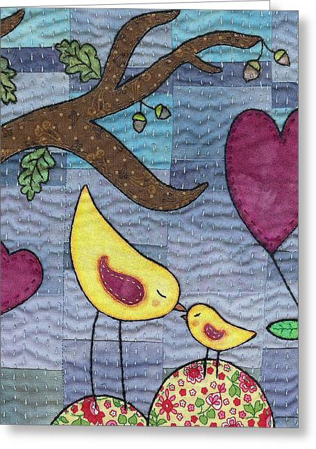 Whimsical Tapestries - Textiles Greeting Cards - I Love You Greeting Card by Julie Bull
