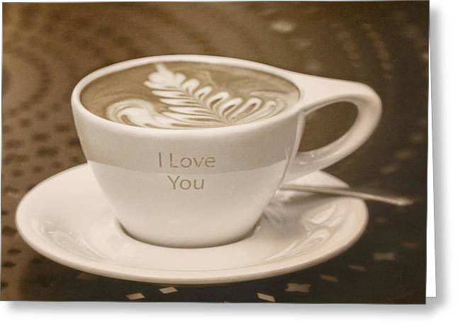 Kim Klassen Texture Greeting Cards - I Love You Greeting Card by Kim Swanson