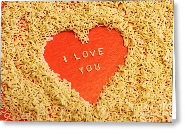 Italian Food Greeting Cards - I love you Greeting Card by Lars Ruecker