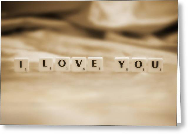 Neutral Colours Greeting Cards - I Love You Greeting Card by Natalie Kinnear