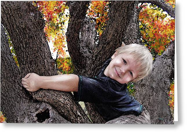Little Boy Digital Art Greeting Cards - I love you this much Greeting Card by Jane Schnetlage