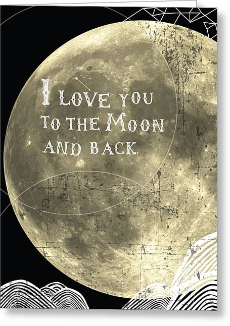 Sky Lovers Art Greeting Cards - I love you to the moon and back Greeting Card by Cindy Greenbean