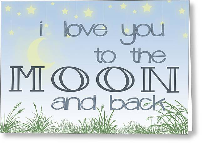 The Blue Moon Boys Greeting Cards - I Love You to the Moon and Back Two Greeting Card by Heather Applegate