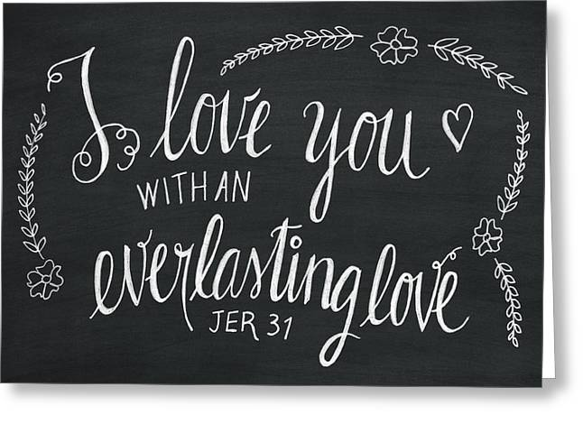 I Pastels Greeting Cards - I love you with an everlasting love Greeting Card by Grace Sabarus