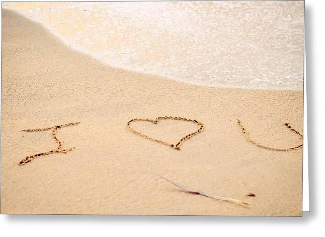 Half Moon Bay Greeting Cards - I Love You Written in the Sand  Greeting Card by Lynn Langmade