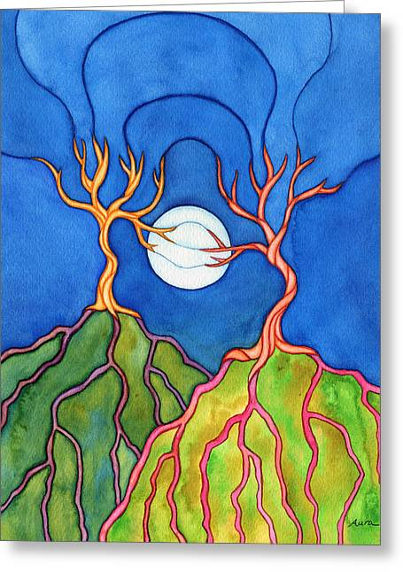 Tree Roots Paintings Greeting Cards - I Miss You Greeting Card by Aura Lesnjak
