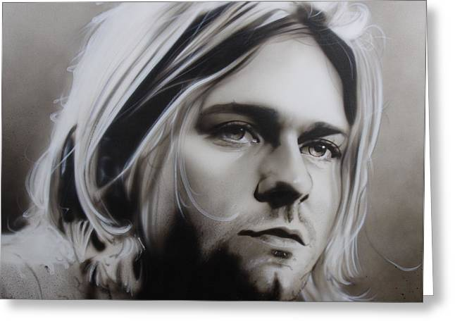 Kurt Cobain Greeting Cards - I Need an Easy Friend Greeting Card by Christian Chapman Art