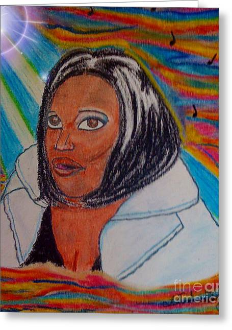African-american Pastels Greeting Cards - I Need Thee O- A Self Potrait Greeting Card by Lewanda Laboy