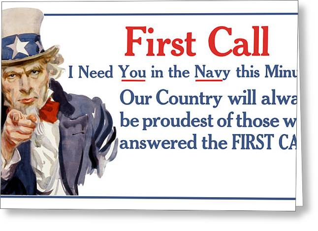 Montgomery Greeting Cards - I Need You In The Navy Uncle Sam WWI Greeting Card by War Is Hell Store
