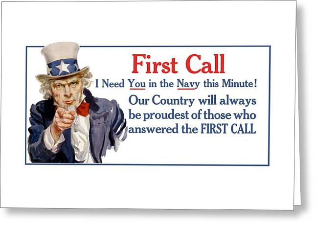 I Need You In The Navy - Uncle Sam Wwi Greeting Card by War Is Hell Store
