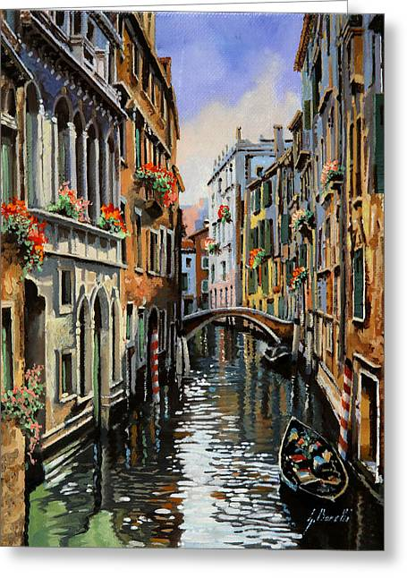 Canal Greeting Cards - I Pali Rossi Greeting Card by Guido Borelli