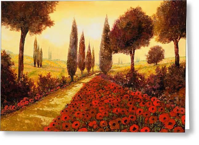 Cypress Greeting Cards - I Papaveri In Estate Greeting Card by Guido Borelli