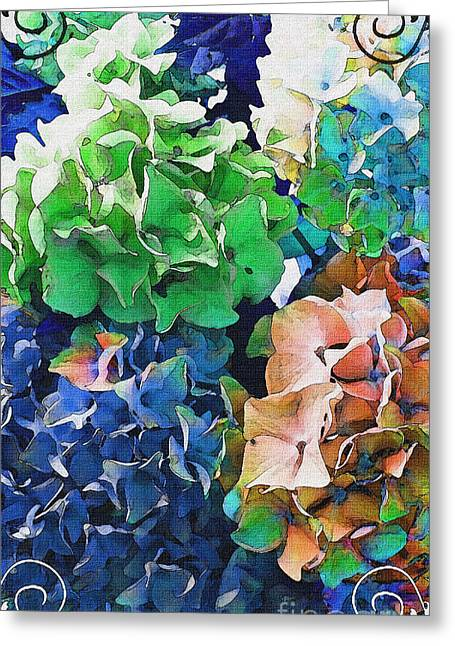 I Pyrography Greeting Cards - I Phone Case / Wall Art - Multi Colored Hydrangeas III Greeting Card by Debbie Portwood