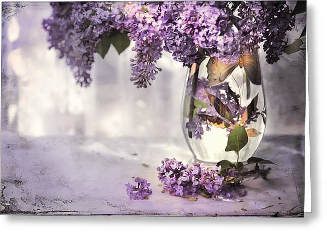 I PICKED A BOUQUET OF LILACS TODAY Greeting Card by Theresa Tahara