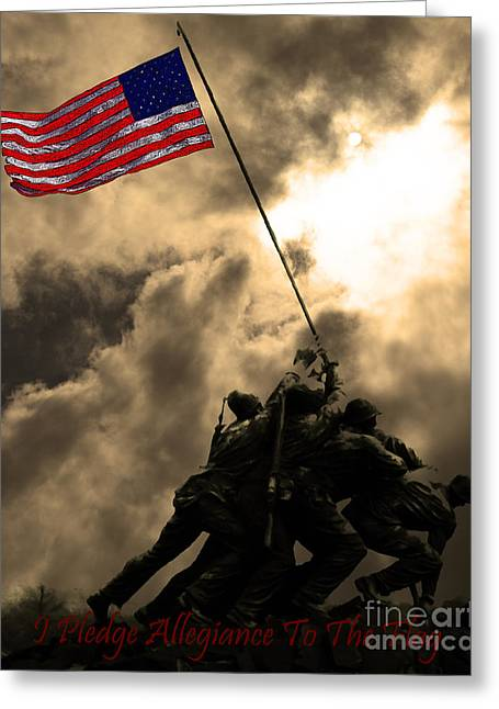 Flag Of Usa Greeting Cards - I Pledge Allegiance To The Flag - Iwo Jima 20130211v2 Greeting Card by Wingsdomain Art and Photography