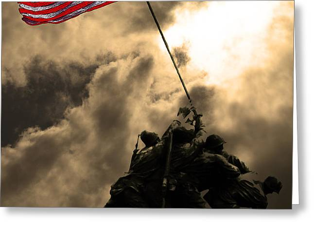 I Pledge Allegiance To The Flag - Iwo Jima 20130211v2 Greeting Card by Wingsdomain Art and Photography