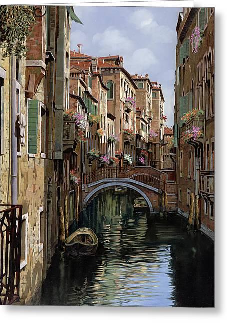 Canal Greeting Cards - I Ponti A Venezia Greeting Card by Guido Borelli