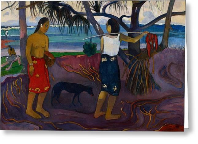 Oceania Greeting Cards - I Raro Te Greeting Card by Paul Gauguin