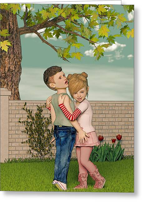Boy Meets Girl Greeting Cards - I Remember Our First Hug Greeting Card by Liam Liberty