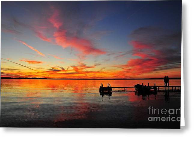 Lake Greeting Cards - Firecracker Sunset 2 Greeting Card by Terri Gostola