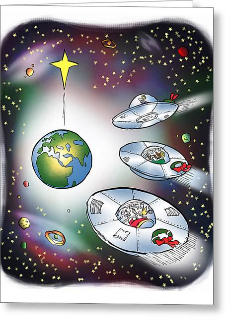 I Saw Three Saucers Greeting Card by Mark Armstrong