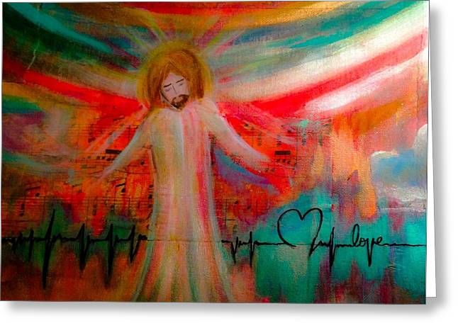 Heartbeat Mixed Media Greeting Cards - I See Heaven Greeting Card by Debbie Hornsby