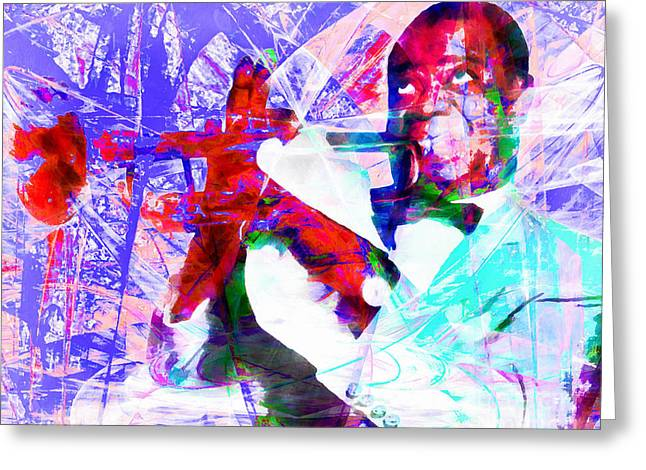 Whimsical. Greeting Cards - I See Skies Of Blue Clouds Of White Louis Armstrong 20141218wcstyle ym168 Greeting Card by Wingsdomain Art and Photography