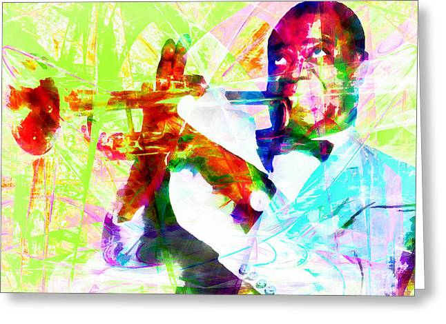 African-american Digital Greeting Cards - I See Trees Of Green Red Roses Too Louis Armstrong 20141218wcstyle yp28 Greeting Card by Wingsdomain Art and Photography