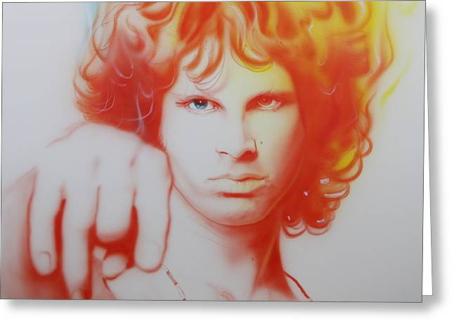 The Doors Greeting Cards - I See Your Hair is Burning Greeting Card by Christian Chapman Art