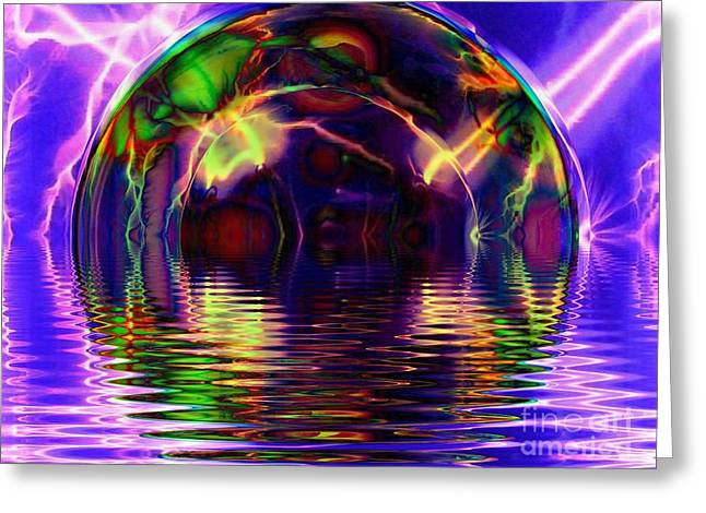 Fractal Orbs Greeting Cards - I Sing the Bubble Electric Greeting Card by Elizabeth McTaggart