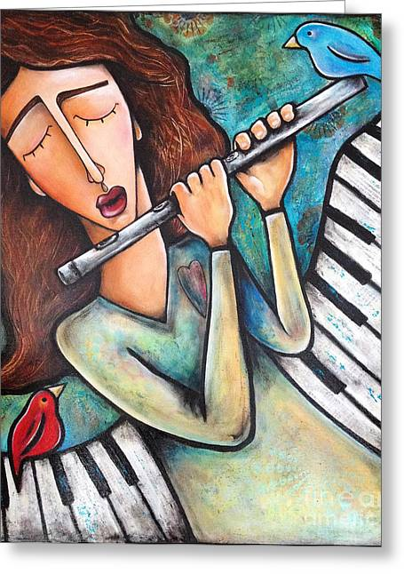 Flute Player Greeting Cards - I Song For Life Greeting Card by Stephanie Gerace