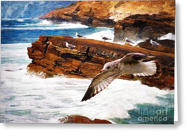 Lianne Schneider Fine Art Print Greeting Cards - I Stand Amid the Breakers Greeting Card by Lianne Schneider