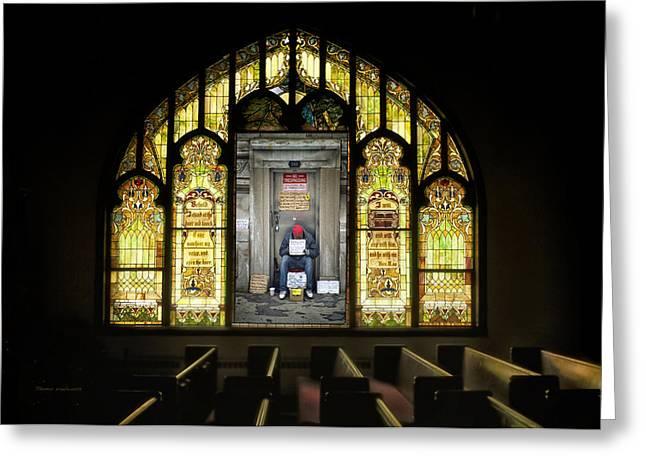 Human Survival Photographs Greeting Cards - I Stand At The Door And Knock Composite Greeting Card by Thomas Woolworth