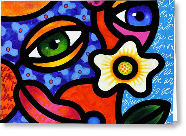Abstract Faces Greeting Cards - I Think I Like You Greeting Card by Steven Scott