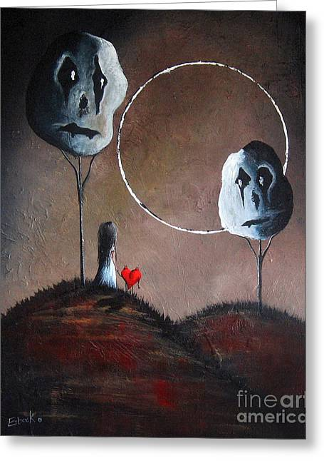 Creepy Paintings Greeting Cards - I Think We Went The Wrong Way by Shawna Erback Greeting Card by Shawna Erback