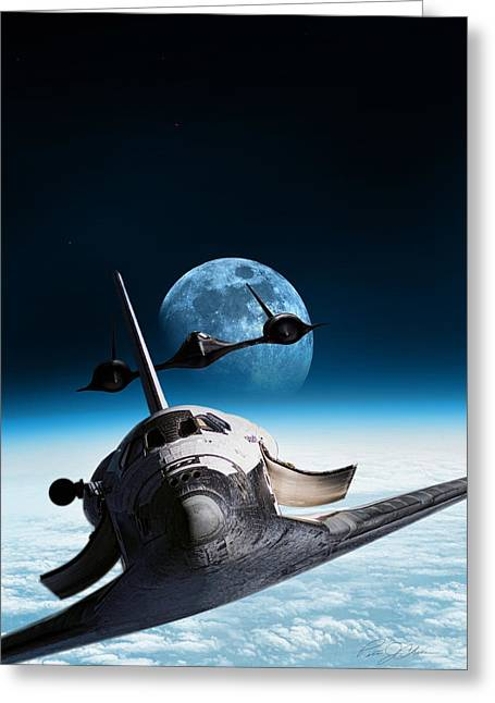 Nasa Space Shuttle Greeting Cards - I Think Were Being Followed Greeting Card by Peter Chilelli