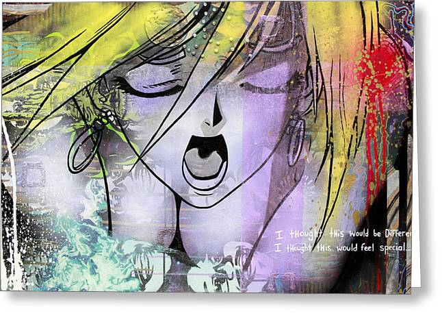Stencil Art Paintings Greeting Cards - I Thought This Would Feel Special Greeting Card by Bobby Zeik