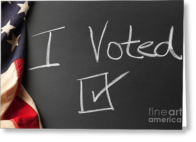 I Write Greeting Cards - I Voted Sign on Chalkboard Greeting Card by Leslie Banks