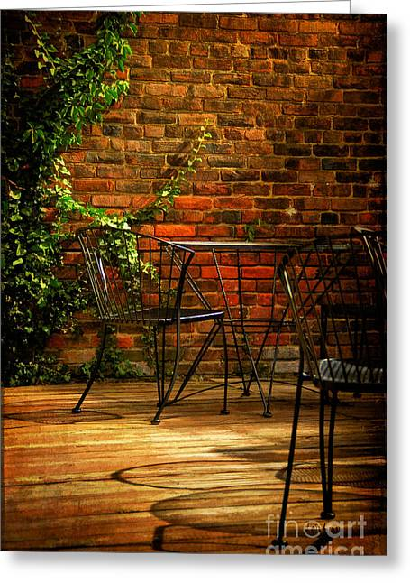 Patio Table And Chairs Digital Art Greeting Cards - I waited for you Greeting Card by Lois Bryan