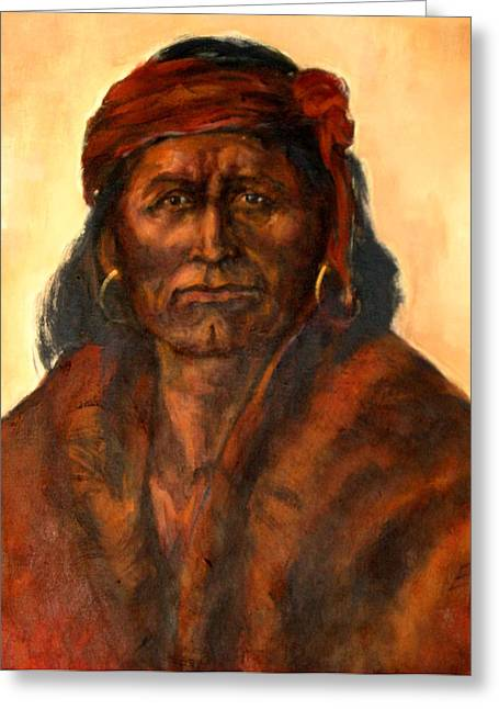 Native American Theme Greeting Cards - I walk in the tears of my ancestors Greeting Card by Johanna Elik