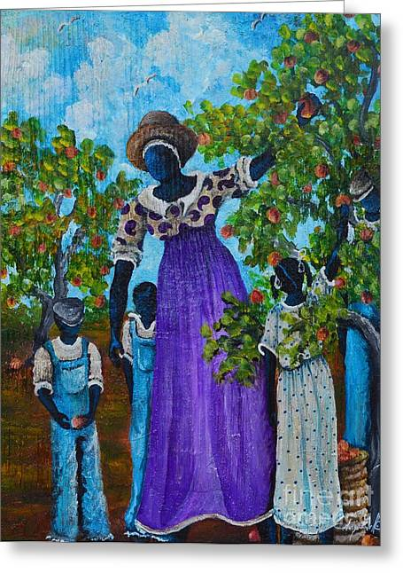 African Heritage Mixed Media Greeting Cards - I Want A peach Greeting Card by Sonja Griffin Evans