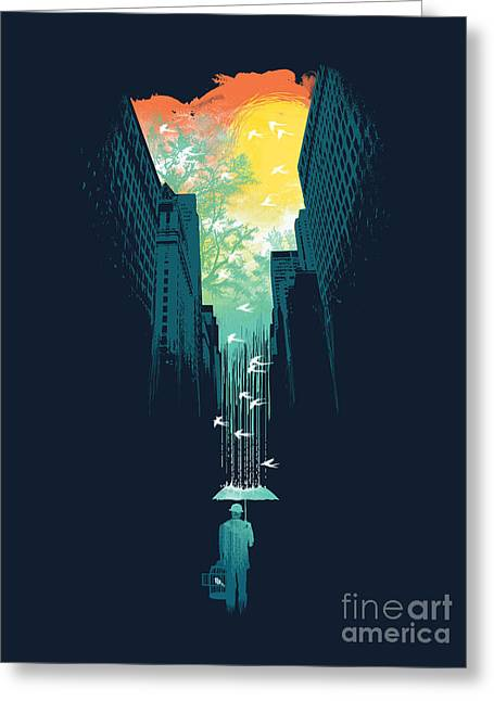 Cities Greeting Cards - I want my blue sky Greeting Card by Budi Kwan